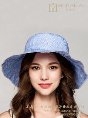 复古格子太阳帽女士